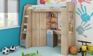 Children's bed with table and wardrobe K7320