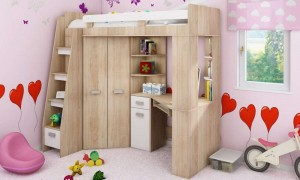 Children's bed with table and wardrobe K7322