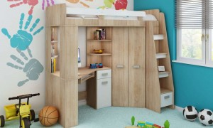 Children's bed with table and wardrobe K7323