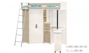 Children's bed with table and wardrobe K7319