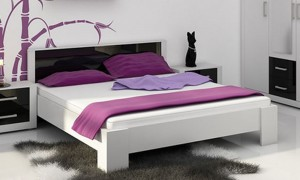 Bed white / black gloss 207x166 cm