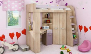 Children's bed with table and wardrobe K7321