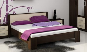 Bed wenge/cream 207x166 cm